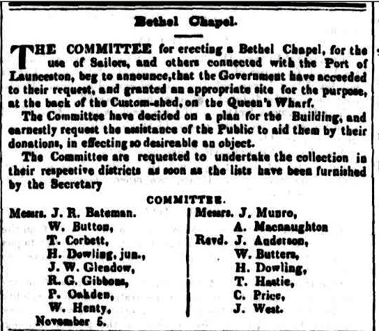 Bethel 5 November 1845 Cornwall Chronicle