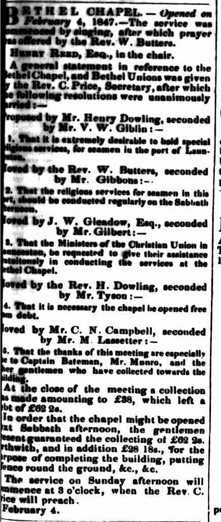 Bethel3 Launceston Examiner 6 Februaryy 1847
