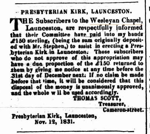 Launceston Advertiser 14 December 1831