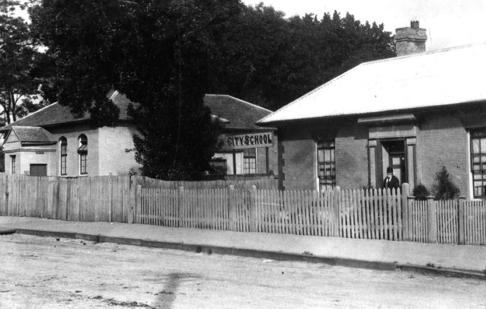 QVM-1991-P-0107 View of the Wesleyan Chapel, Launceston, Tasmania, c 1900. Copied from another source
