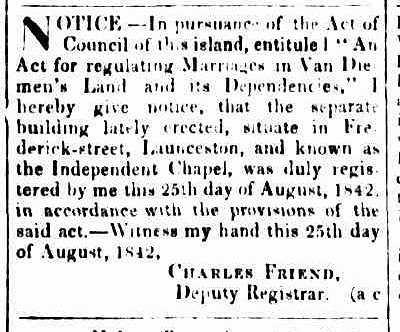 Cornwall Chronicle 27 August 1842