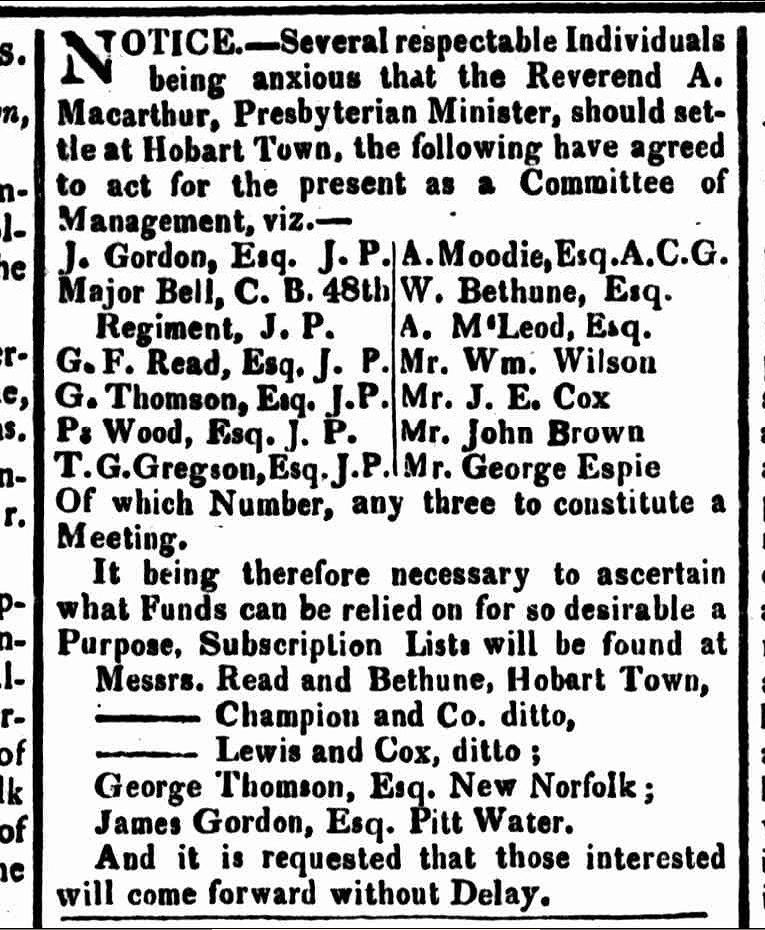 Hobart Town Gazette, 11 January 1823