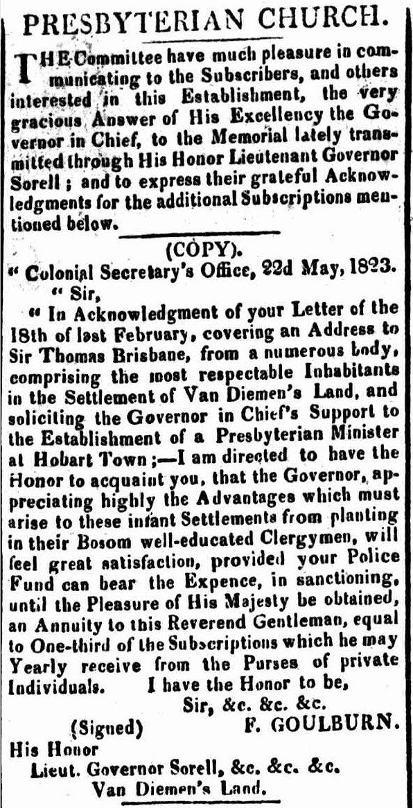 Hobart Town Gazette, 14 June 1823