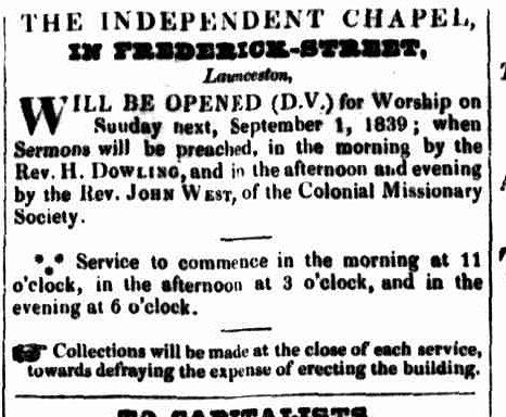 Launceston Advertiser 29 August 1839