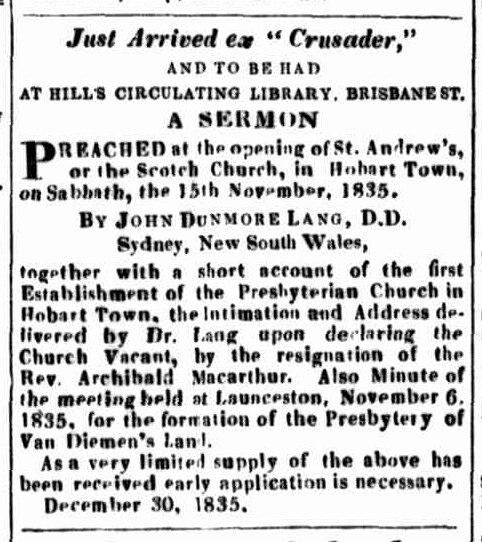 Launceston Advertiser, 31 December 1825
