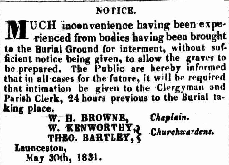 Launceston Advertiser 6 June 1831