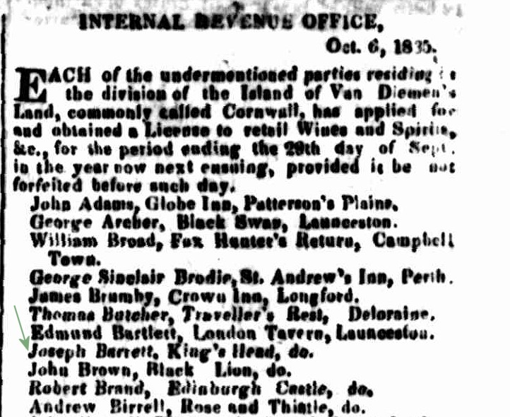 Cornwall Chronicle, 17 October 1835 -- KH