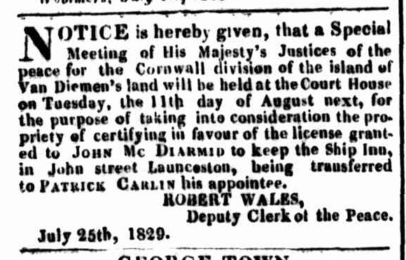 Launceston Advertiser, 10 August 1829