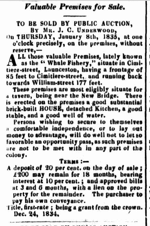 Launceston Advertiser, 29 December 1834