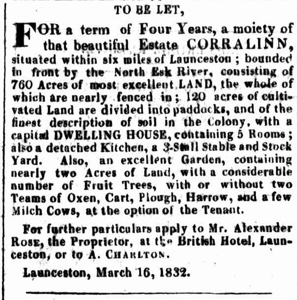 British Hotel Launceston Advertiser, 9 May 1832