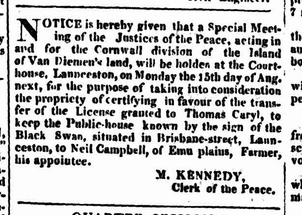 Hobart Town Courier, 30 July 1831