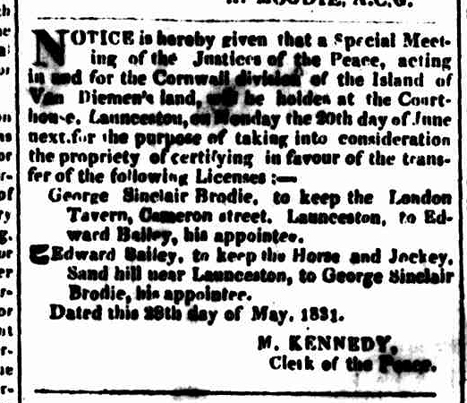 Hobart Town Courier, 4 June 1831