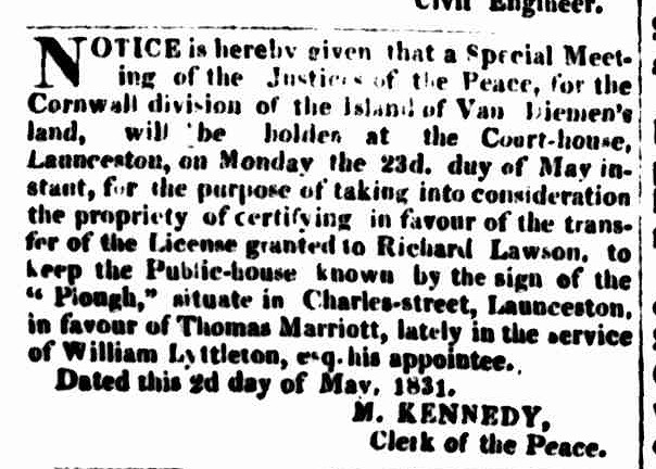 Hobart Town Courier, 7 May 1831