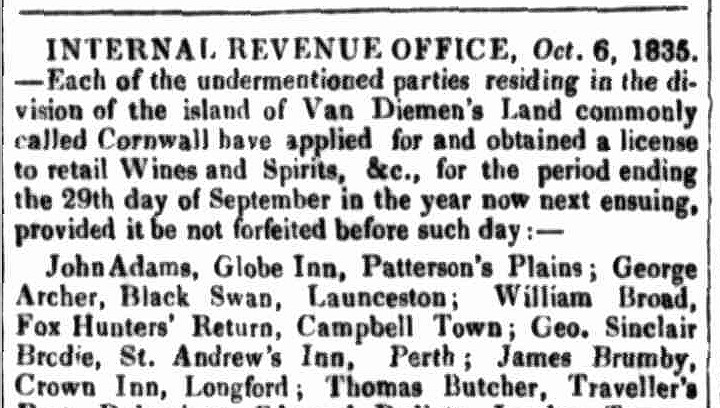 Launceston Advertiser, 15 October 1835