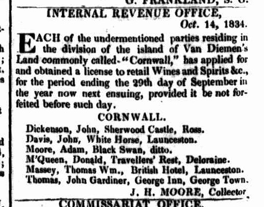 Launceston Advertiser, 20 October 1834
