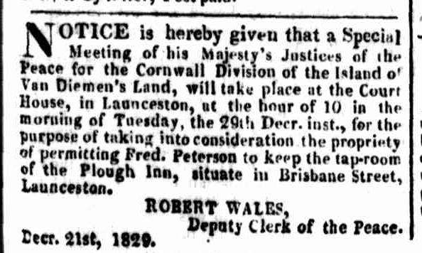 Launceston Advertiser, 28 December 1829