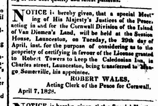 Hobart Town Courier, 19 April 1828
