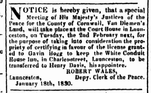 Launceston Advertiser, 1 February 1830
