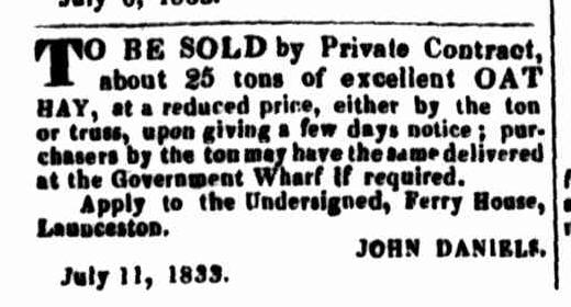 Launceston Advertiser, 11 July 1833