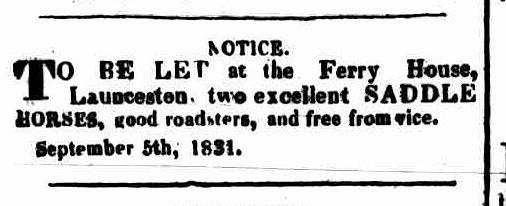 Launceston Advertiser, 12 September 1831