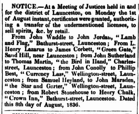 Launceston Advertiser, 18 August 1836 - BIH2