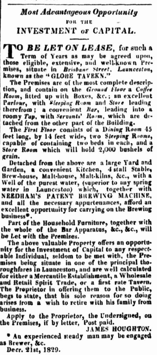 Launceston Advertiser, 21 December 1829