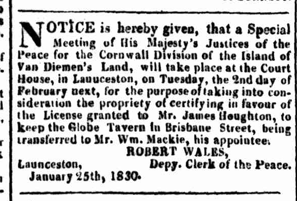 Launceston Advertiser, 25 January 1830