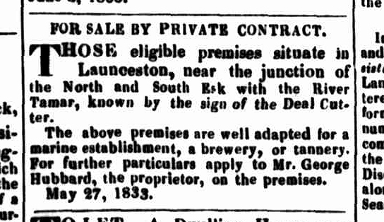 Launceston Advertiser, 27 June 1833