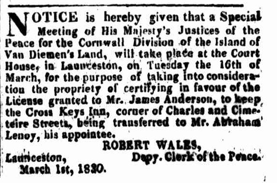 Launceston Advertiser, 1 March 1830