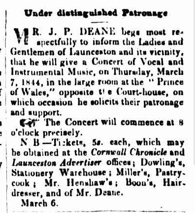 Cornwall Chronicle, 6 March 1844