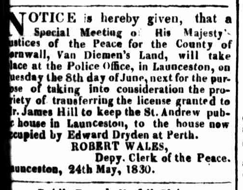 Launceston Advertiser, 31 May 1830