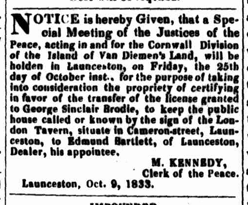 Launceston Advertiser, 10 October 1833