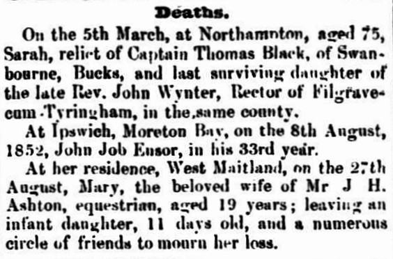 Maitland Mercury, 1 September 1852